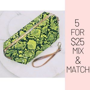 Handbags - 5 for $25 Gold and Neon Snake Pattern Print Pouch